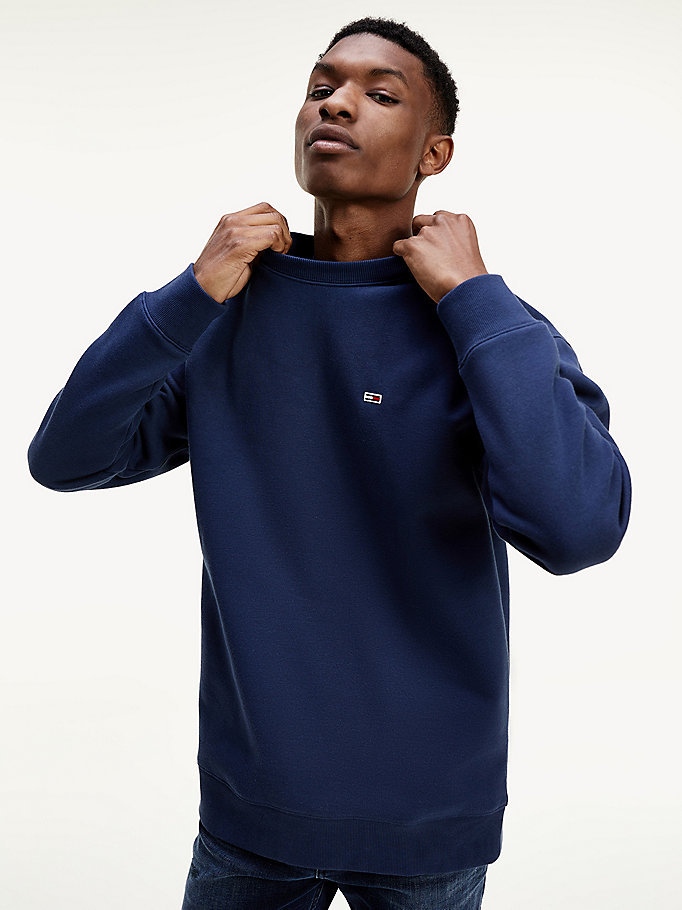 blue classics crew neck fleece jumper for men tommy jeans