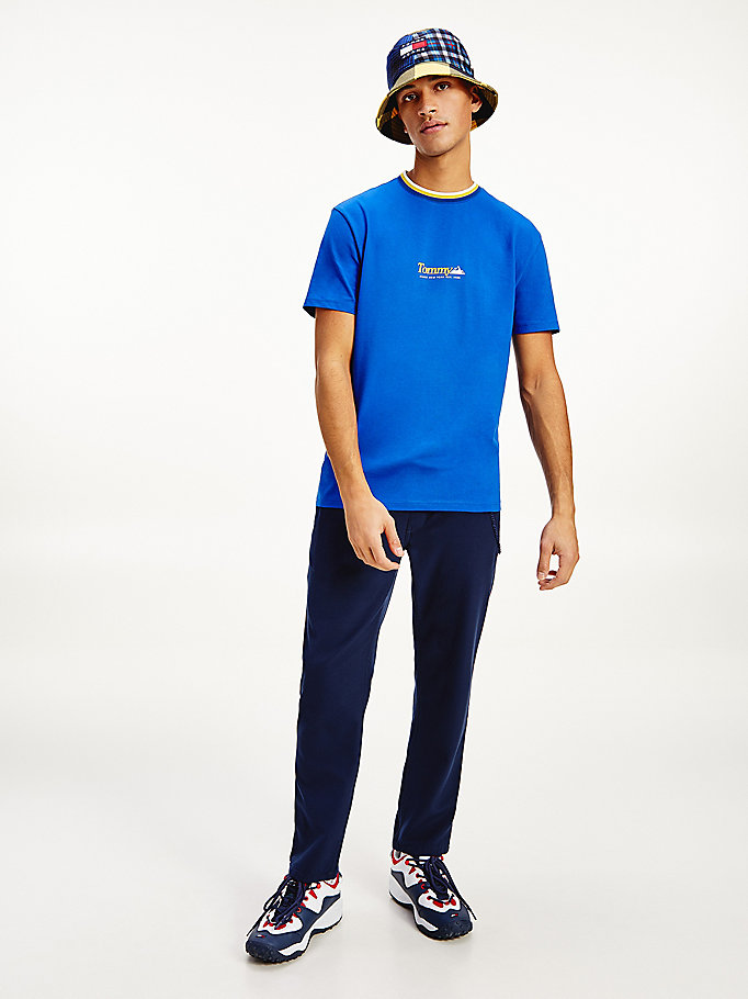 blue contrast collar mountain logo t-shirt for men tommy jeans