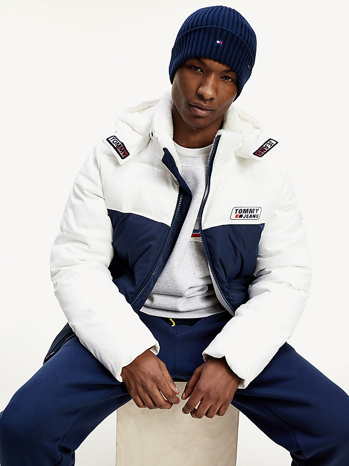 white colour-blocked hooded jacket for men tommy jeans