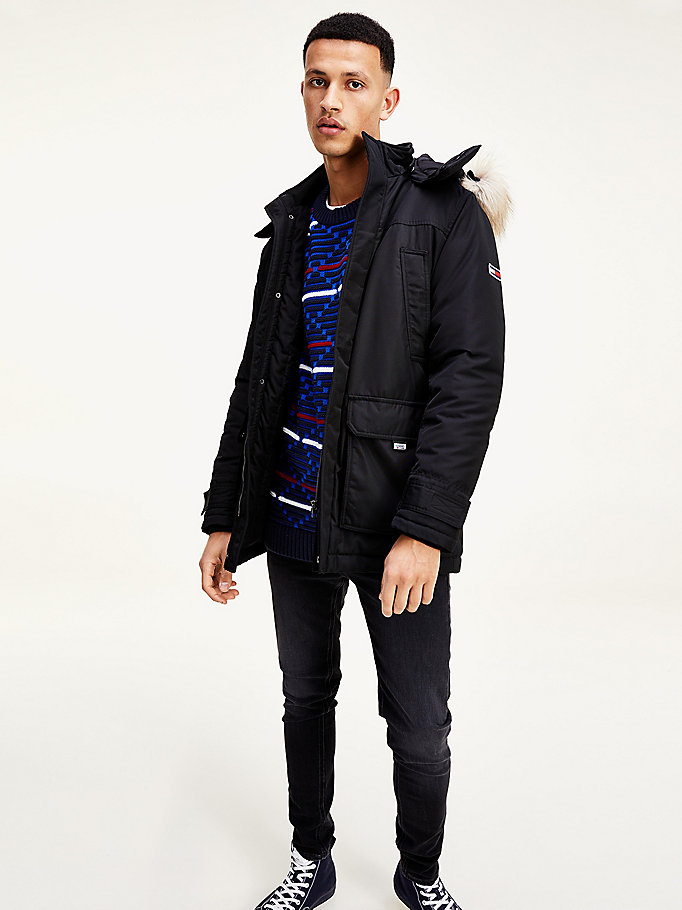 black fur trim hooded parka for men tommy jeans