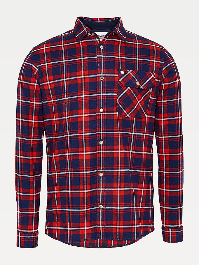 blue check organic cotton shirt for men tommy jeans