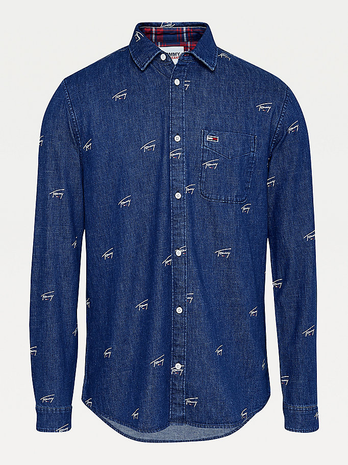denim signature logo comfort fit denim shirt for men tommy jeans