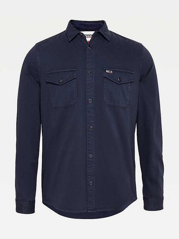blue colour-blocked comfort fit shirt for men tommy jeans