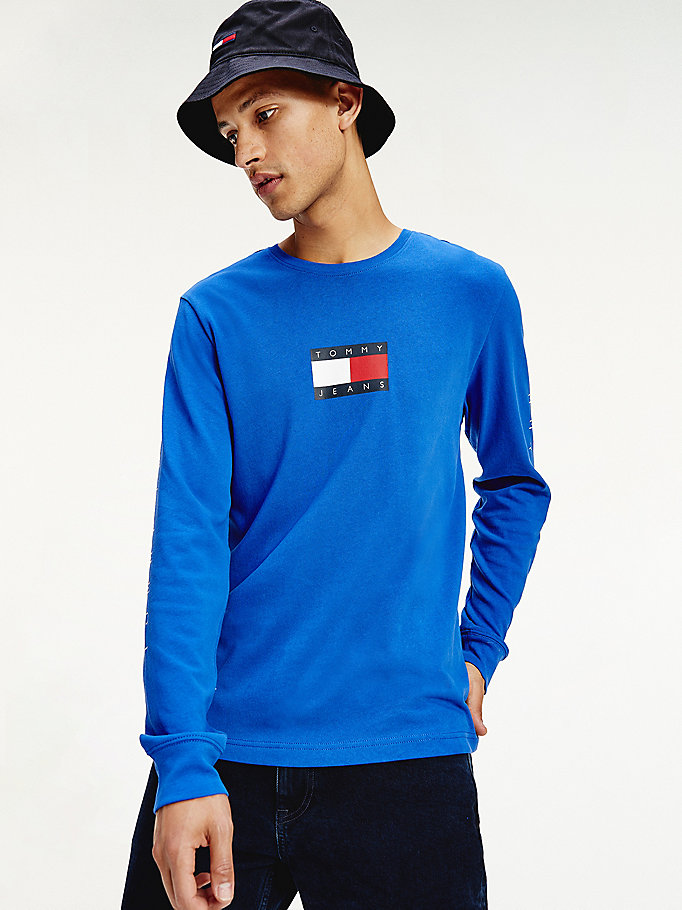 blue long sleeve flag t-shirt for men tommy jeans