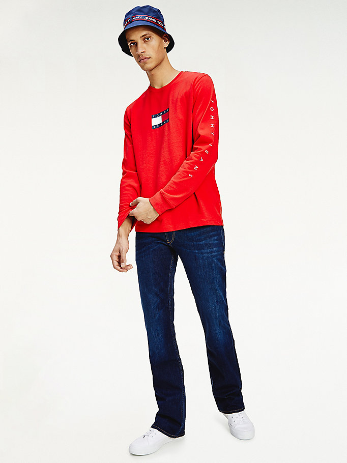 red long sleeve flag t-shirt for men tommy jeans