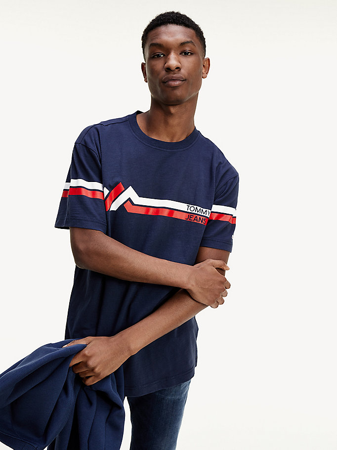 blue mountain stripe organic cotton t-shirt for men tommy jeans