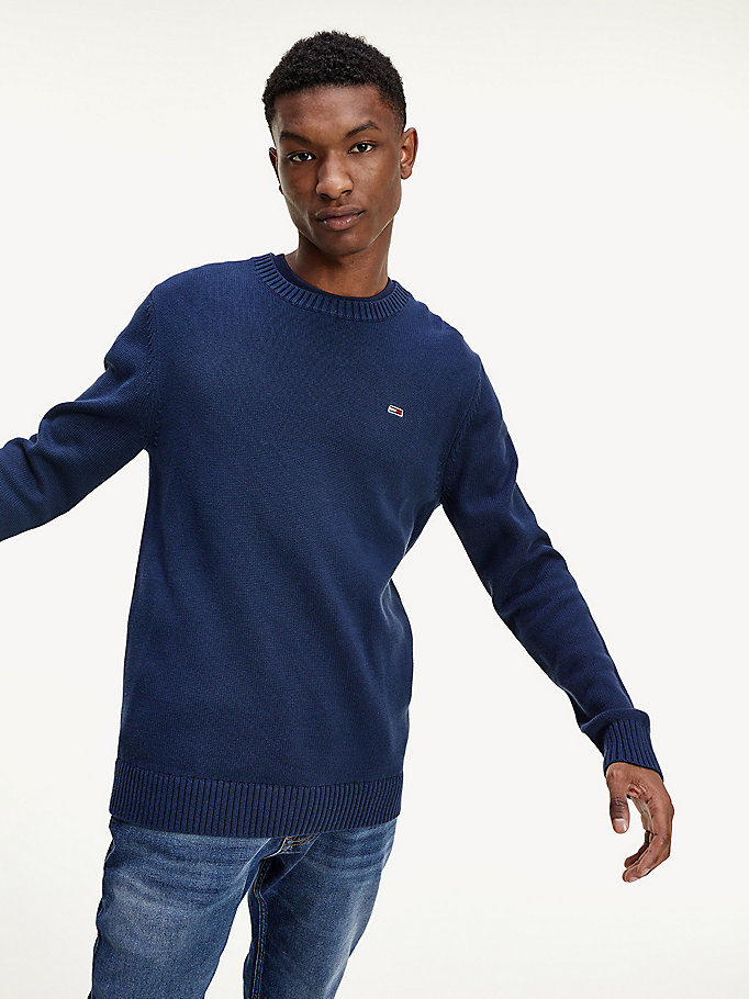 blue essential organic cotton crew neck jumper for men tommy jeans