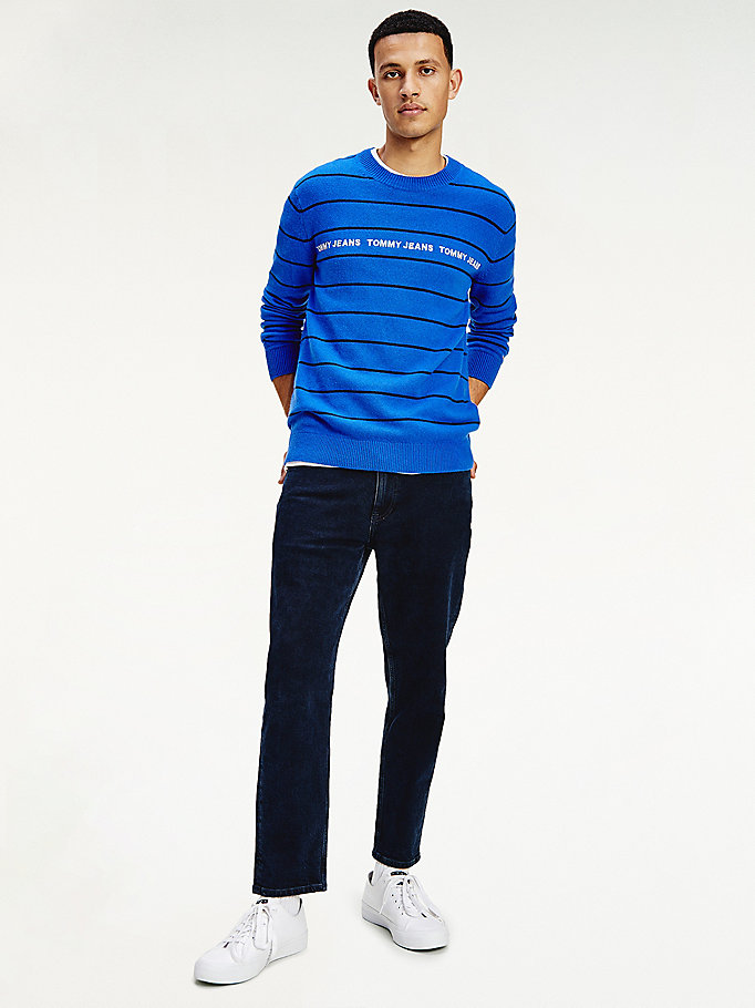 blue lightweight stripe jumper for men tommy jeans