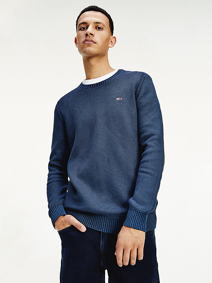 blue essential washed cotton crew neck jumper for men tommy jeans