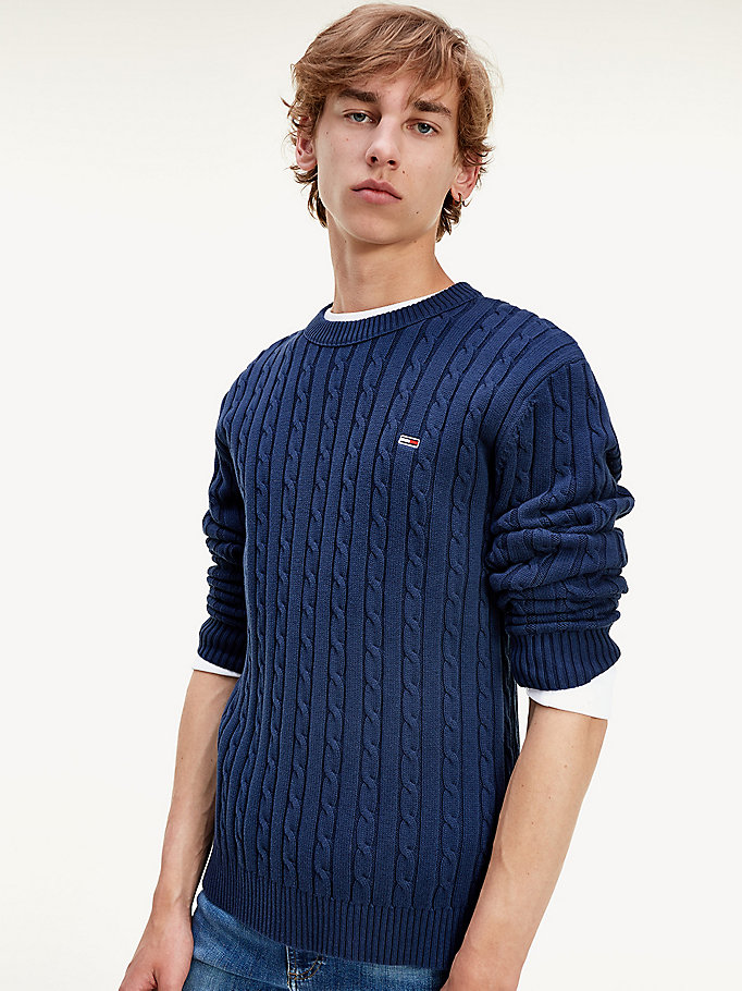 blue essential organic cotton cable knit jumper for men tommy jeans