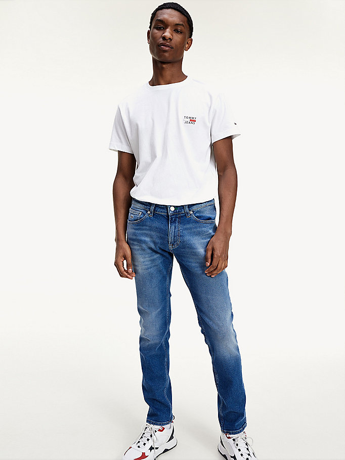 jean slim scanton délavé denim pour men tommy jeans