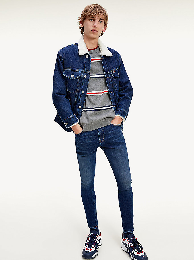 denim super skinny fit faded jeans for men tommy jeans