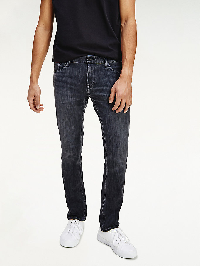 denim scanton slim fit jeans mit fade-effekt am knie für herren - tommy jeans