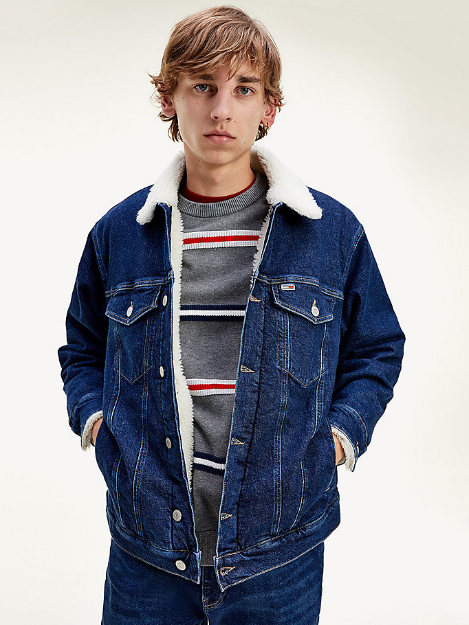 denim sherpa lined denim jacket for men tommy jeans