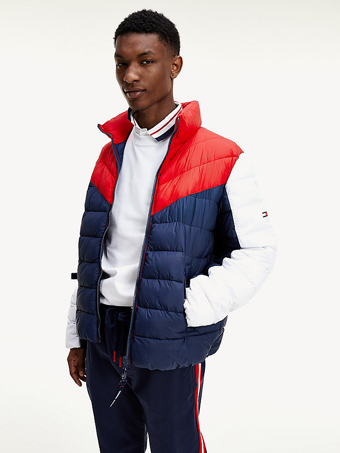 red colour-blocked chevron padded jacket for men tommy jeans
