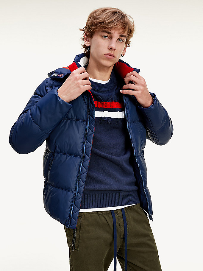 blue essential toggle cord hood padded jacket for men tommy jeans
