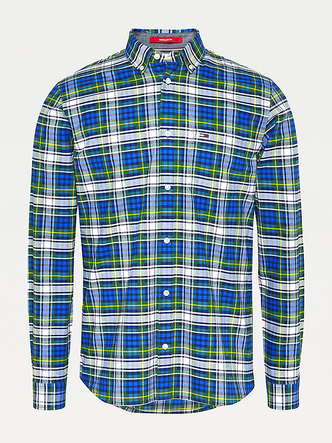blue plaid check organic cotton shirt for men tommy jeans