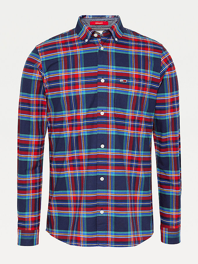 red plaid check organic cotton shirt for men tommy jeans