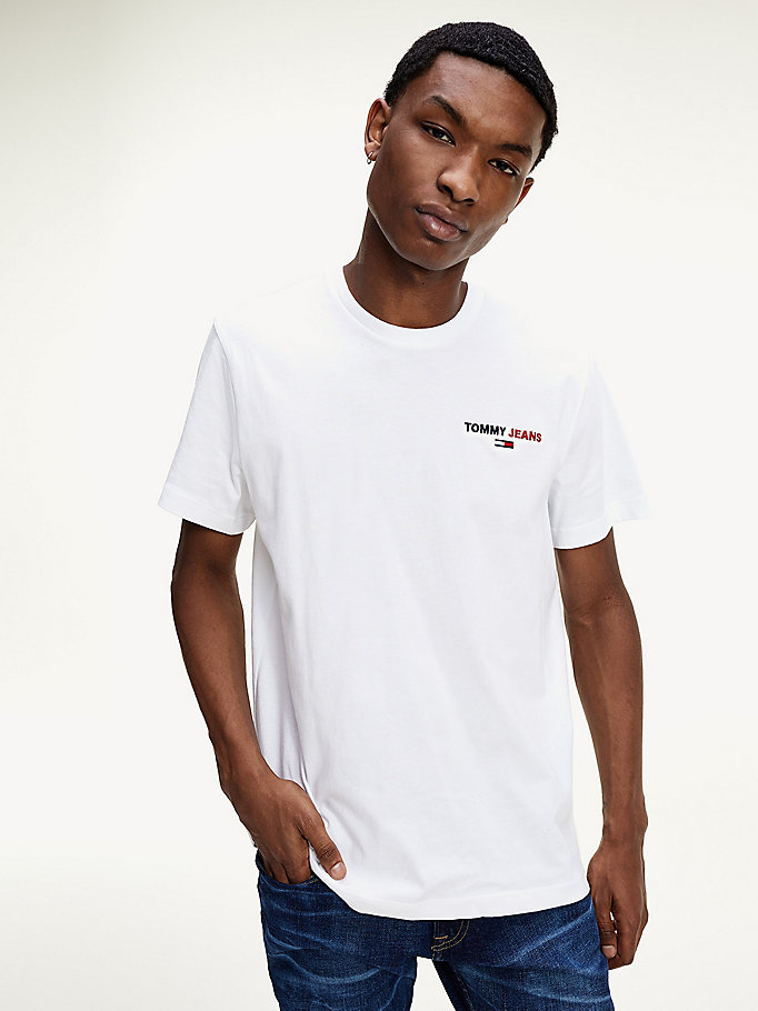 white logo embroidery organic cotton t-shirt for men tommy jeans