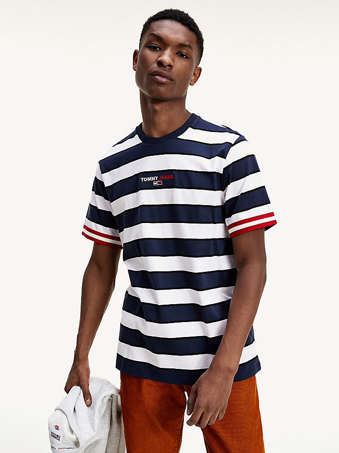 blue logo embroidery mixed stripe t-shirt for men tommy jeans