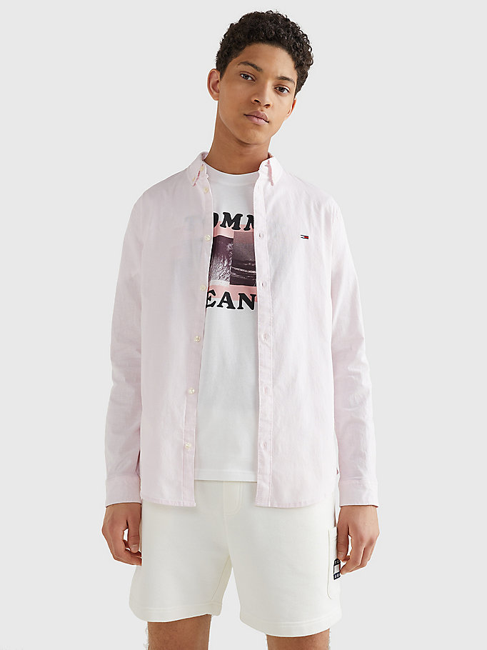 camicia slim fit in cotone oxford stretch rosa da uomo tommy jeans