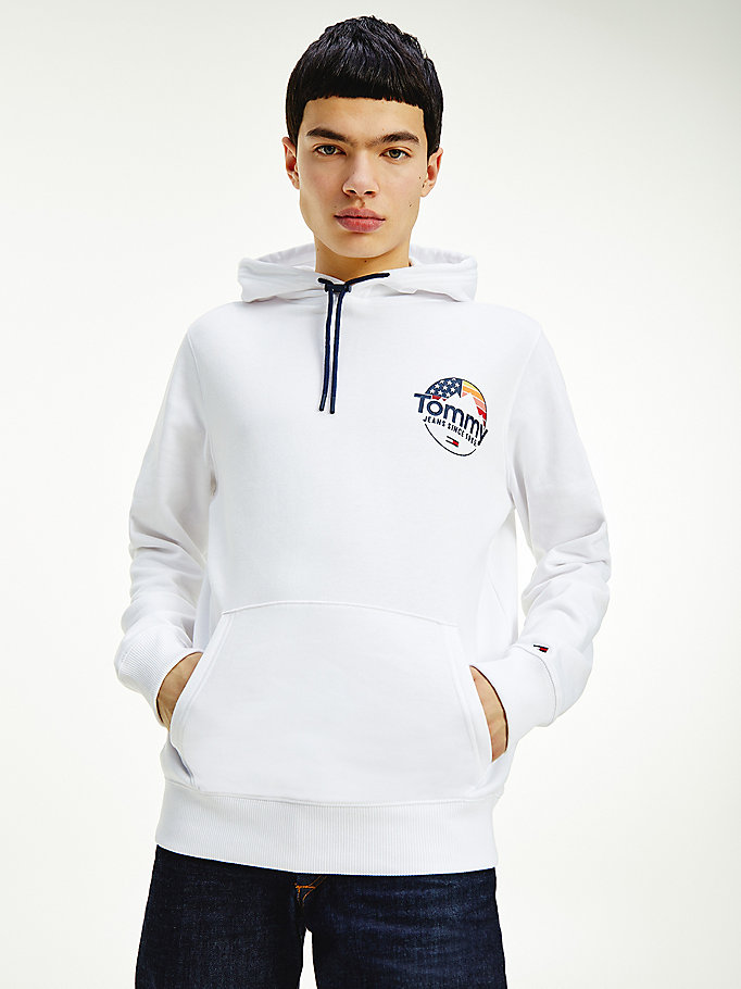 white mountain graphic fleece hoody for men tommy jeans