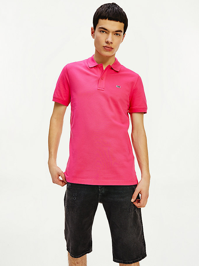 roze classics slim fit polo voor heren - tommy jeans