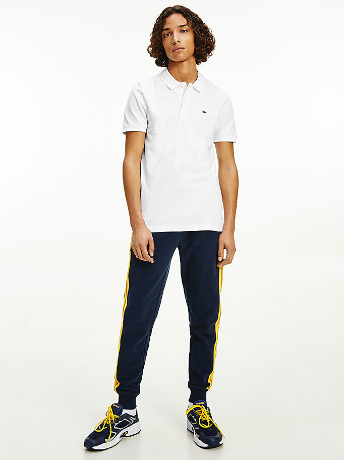 polo classics ajusté stretch blanc pour men tommy jeans