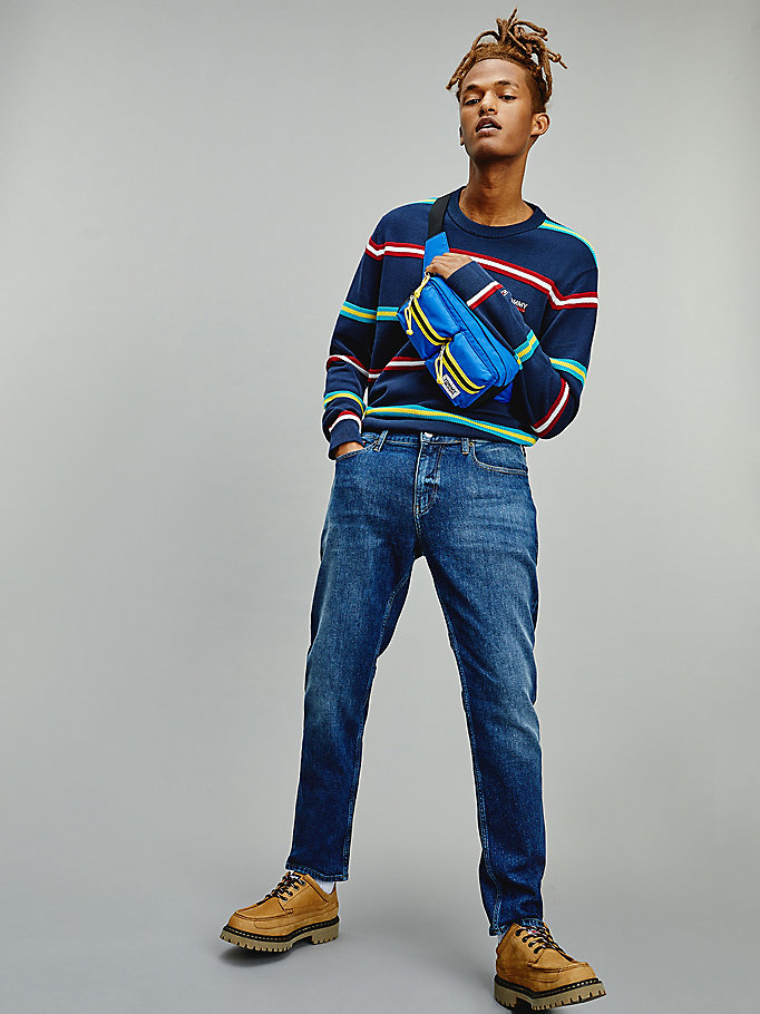blue multicolour stripe jumper for men tommy jeans