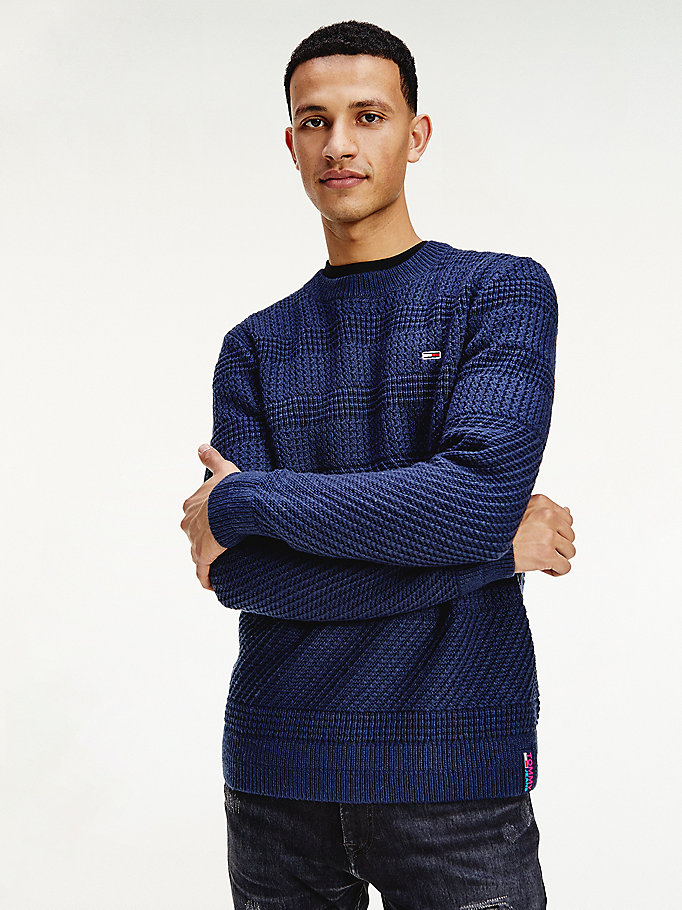 pullover con mix di righe blu da men tommy jeans