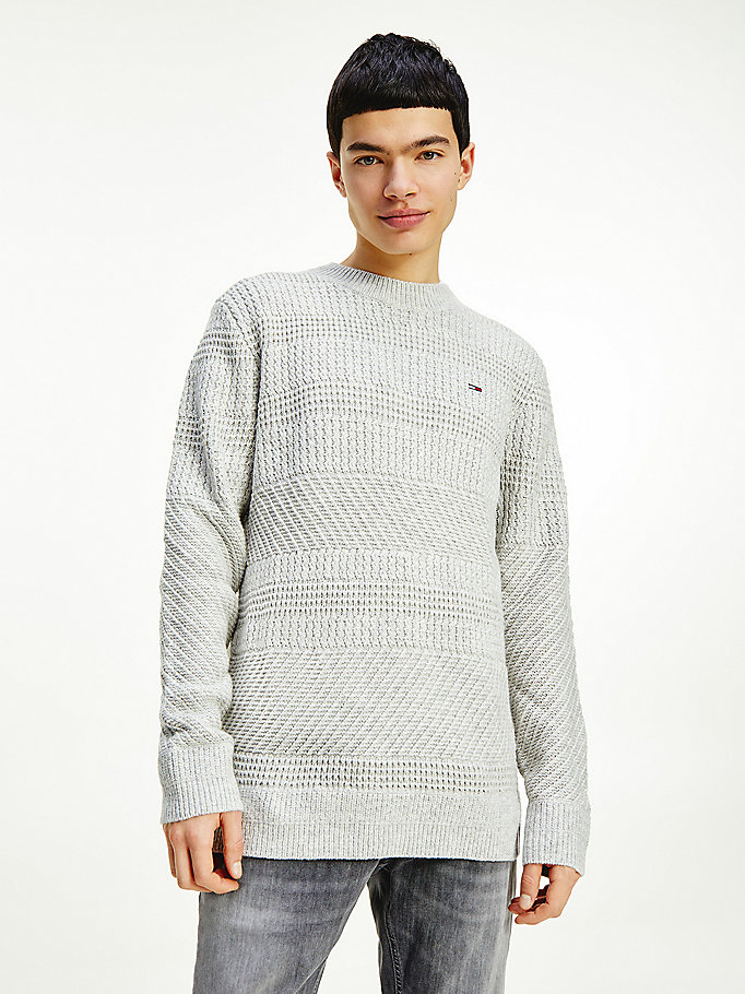grey mixed stripe crew neck jumper for men tommy jeans
