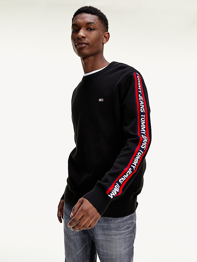 black repeat logo sleeve jumper for men tommy jeans