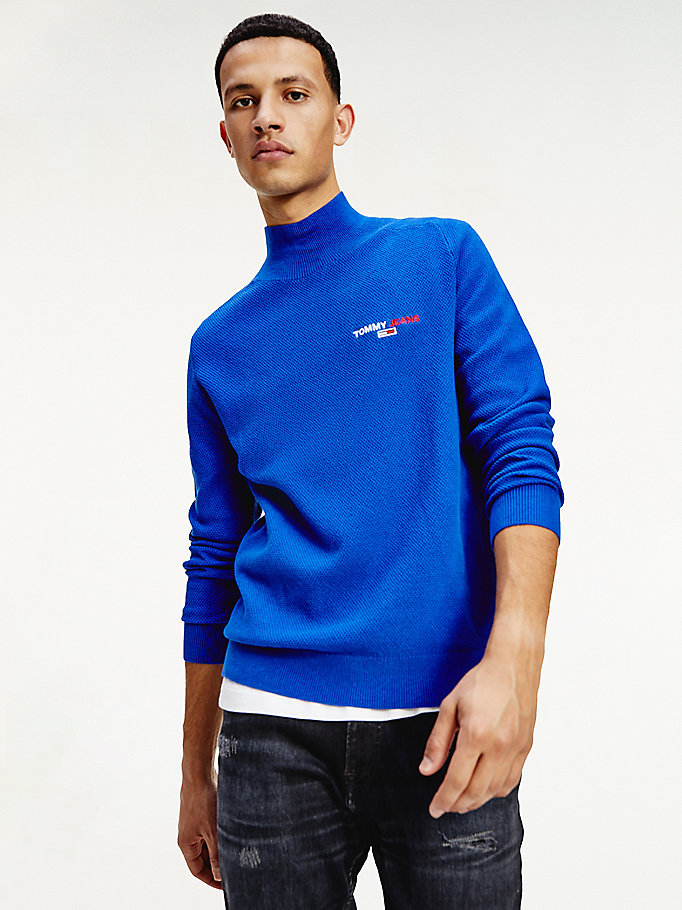blue pure organic cotton turtle neck jumper for men tommy jeans