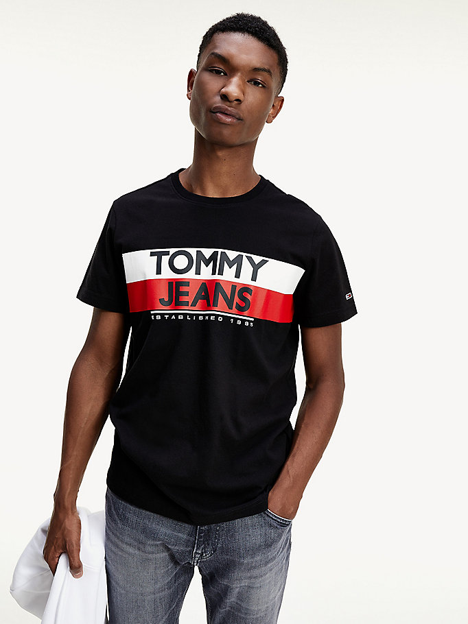 black 1985 logo slim fit t-shirt for men tommy jeans