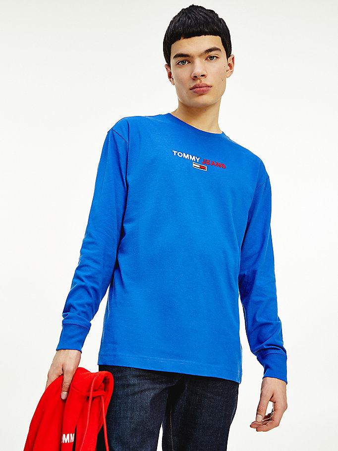 blue long sleeve tommy jeans logo t-shirt for men tommy jeans