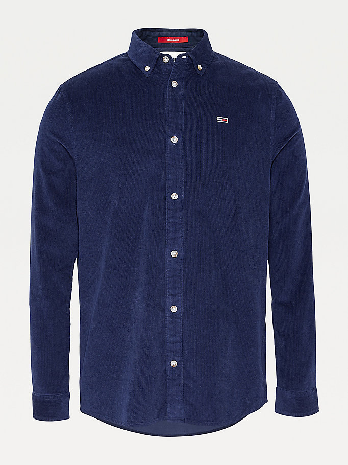 blue pure cotton corduroy shirt for men tommy jeans