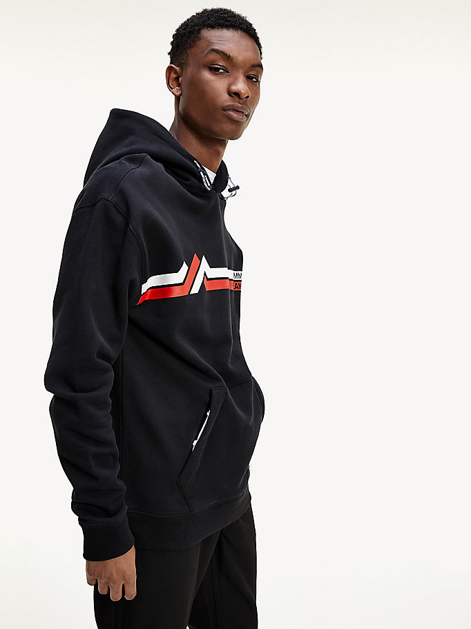 black pure organic cotton mountain logo hoody for men tommy jeans