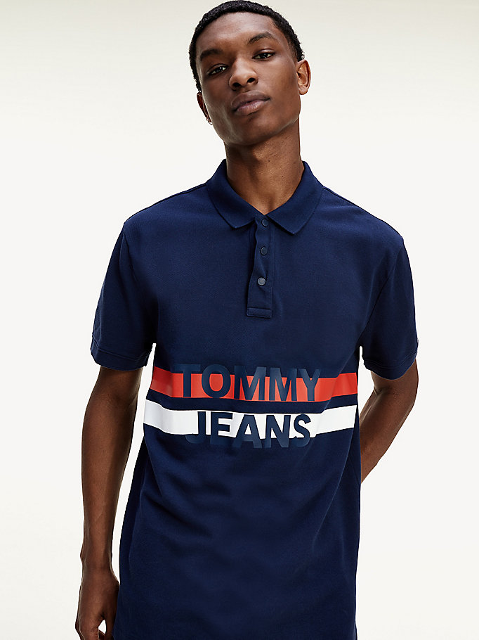 blue logo pure organic cotton polo for men tommy jeans