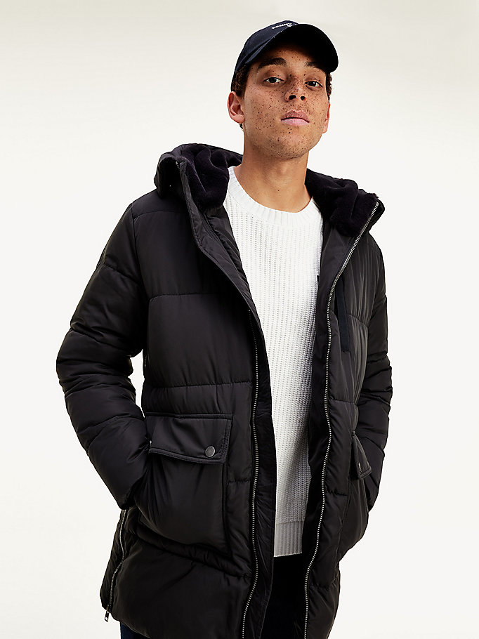 black puffer parka for men tommy jeans