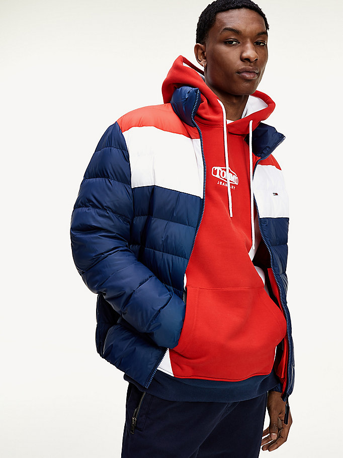 blue colour-blocked down-filled jacket for men tommy jeans