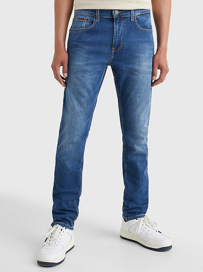 denim slim tapered fit faded jeans for men tommy jeans