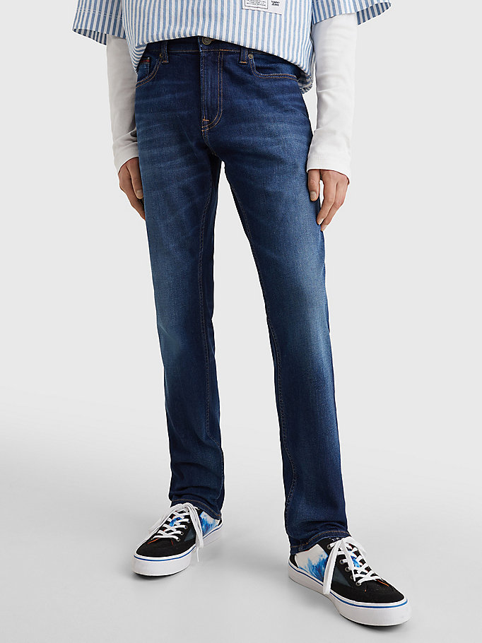 denim scanton slim fit jeans met fading voor heren - tommy jeans