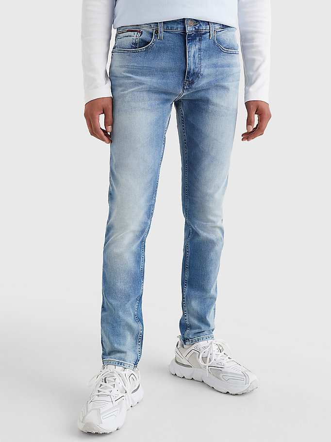 denim slim fit tapered jeans met fading voor men - tommy jeans