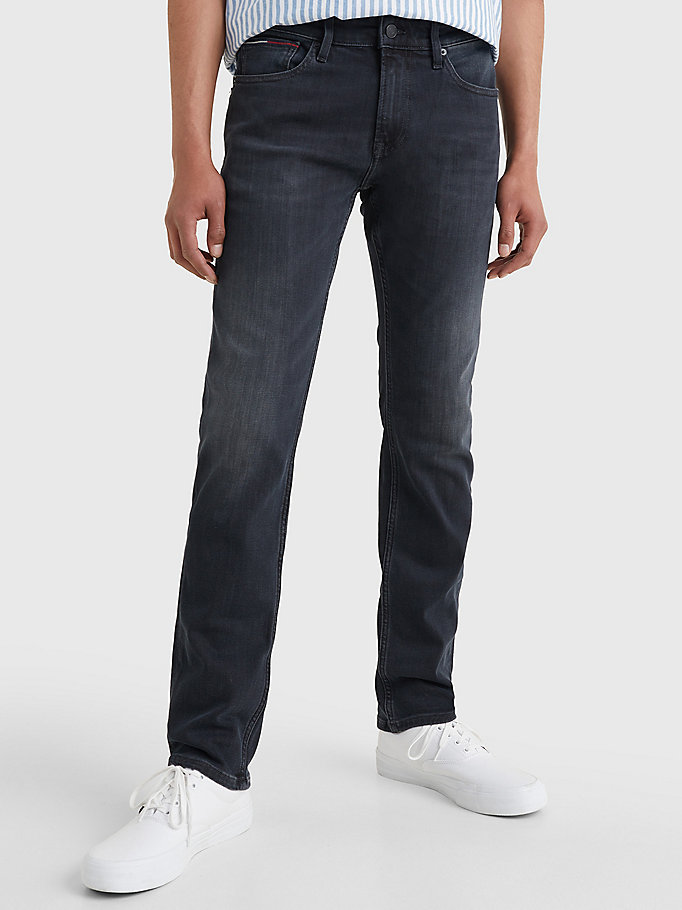 denim scanton zwarte slim fit jeans met fading voor heren - tommy jeans
