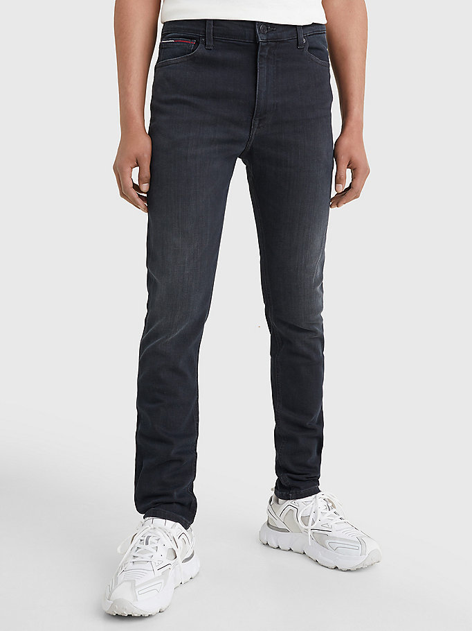 denim simon skinny fit faded black jeans for men tommy jeans