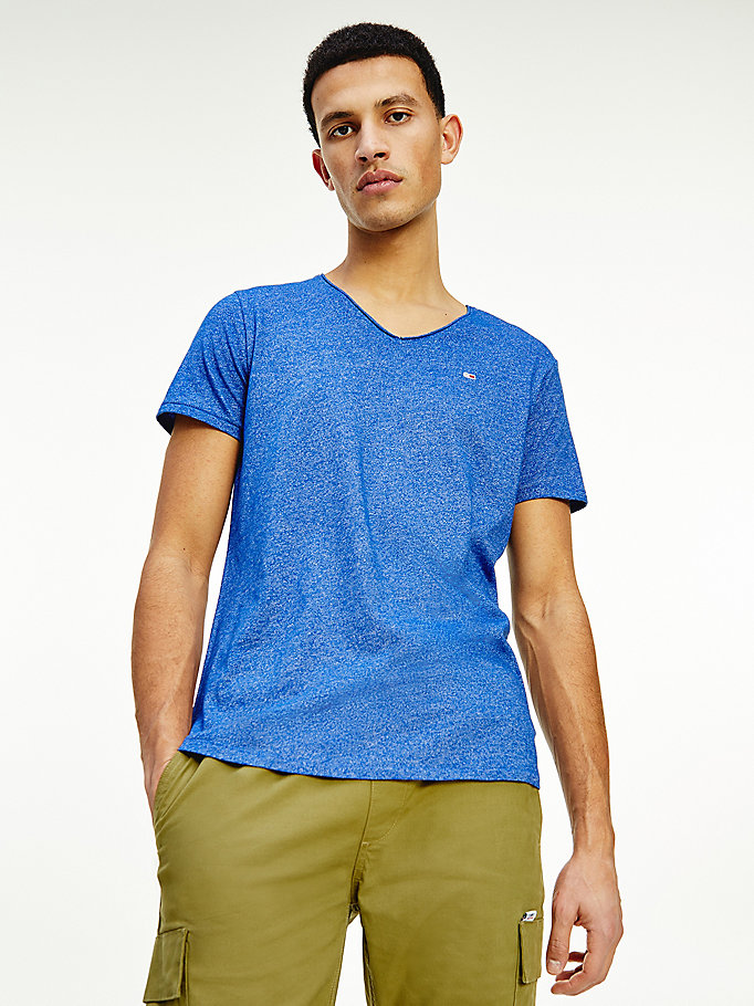 red slim fit v-neck t-shirt for men tommy jeans