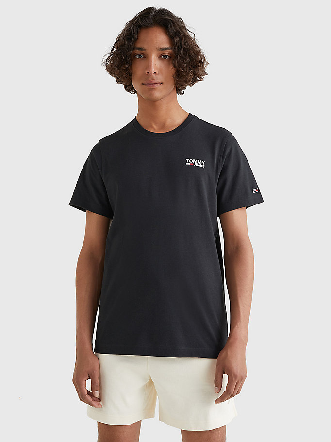 black organic cotton logo t-shirt for men tommy jeans