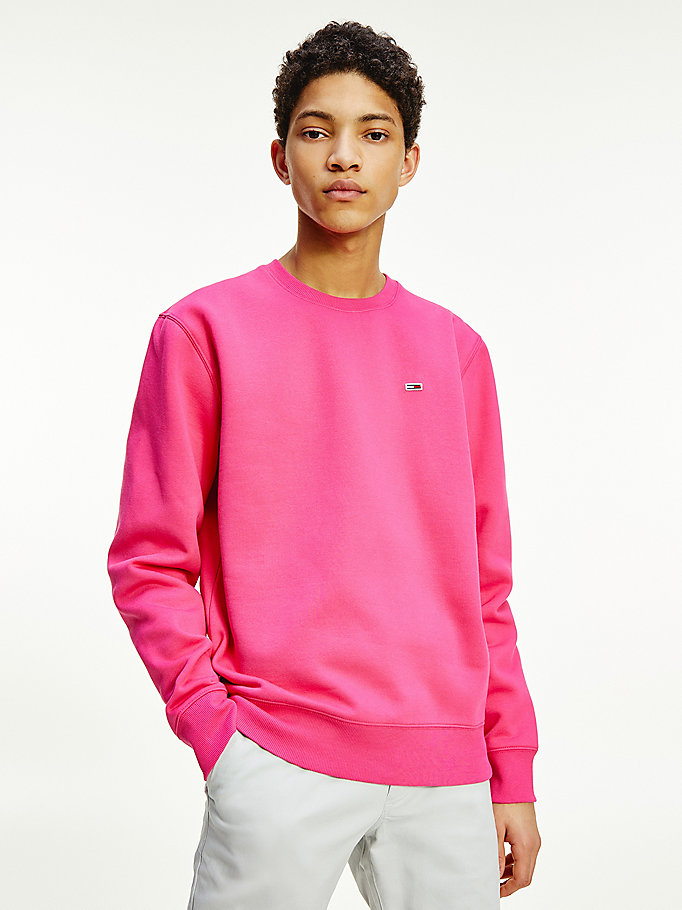 pink fleece crew neck sweatshirt for men tommy jeans