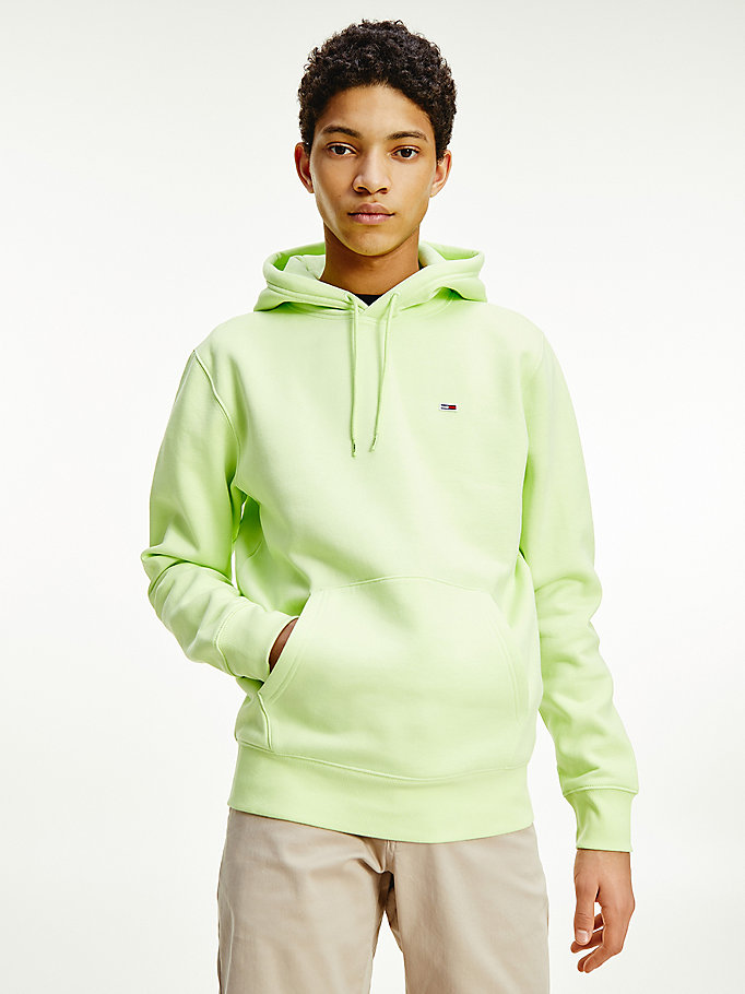 green fleece flag patch hoody for men tommy jeans