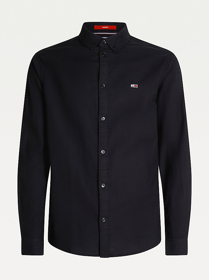 black stretch oxford cotton slim fit shirt for men tommy jeans